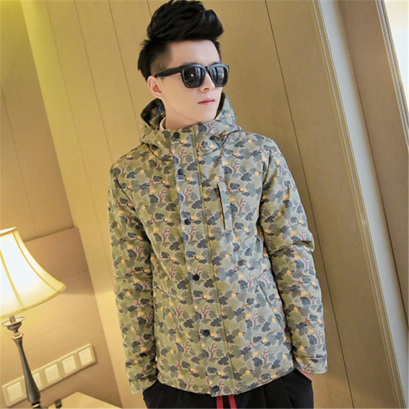 ФОТО 2015 Winter Hot Men's Personalized Pattern Coat thick Hooded Men Padded Camouflage Fashion  Flower pattern