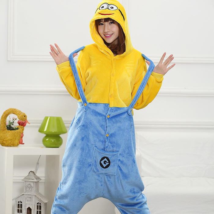 New Flannel Minions Animal Suit Pajamas Cartoon Stitch Pijama Unicornio Pyjamas Women Pijama Cosplay Halloween Sleepwear