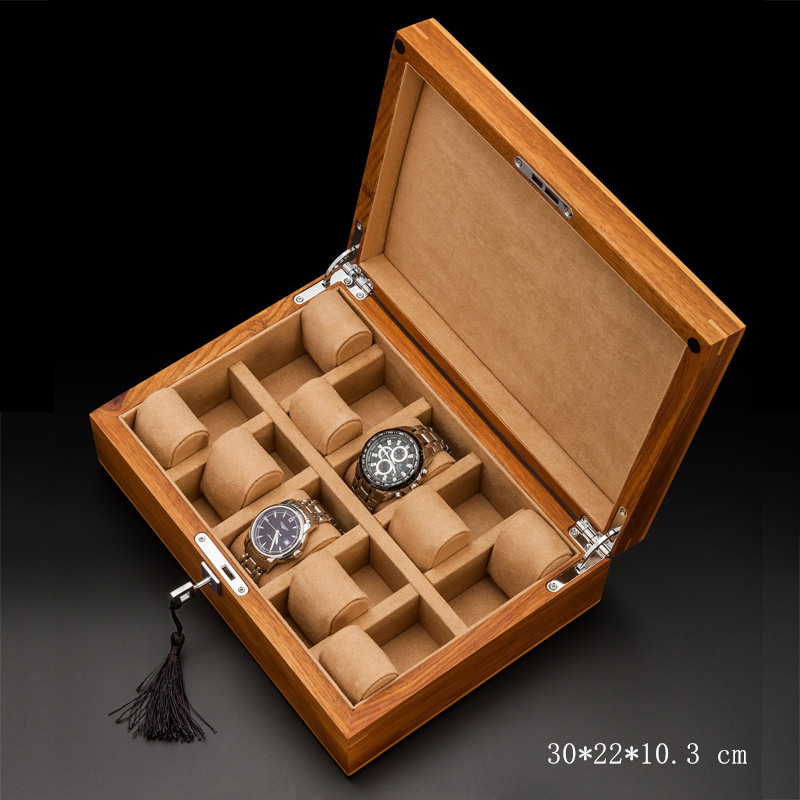 Top 10 Slots Wood Watch Box Fashion Natural Watch Storage Boxes With Lock Mechanical Watch Display Case/Jewelry Box W0140 ya top 5 slots wood watch box fashion retro european style watch storage cases wooden watch and jewelry boxes w023