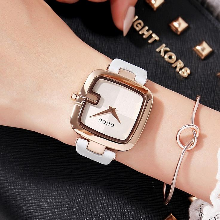 a08bef93f New 2017 Watch Women Leather Band Square Dial Quartz Analog Wrist Watch  Fashion Luxury Women Watches montre homme reloj mujer-in Women's Watches  from ...