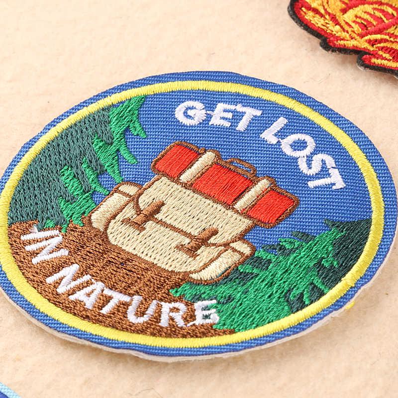 Etiqueta de procesamiento de ropa PGY patrón de paisaje broche de mezclilla bordado de hombro tela vaquera accesorios de ropa