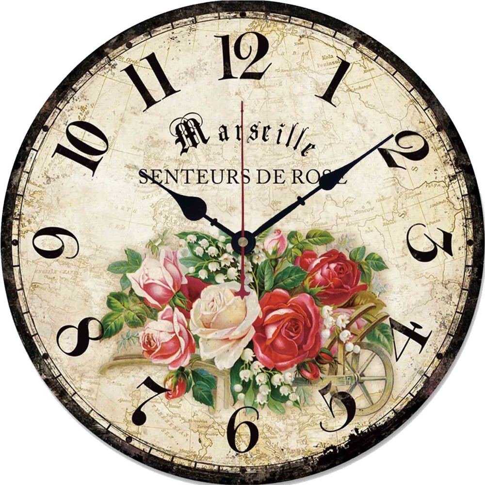 12In Vintage Wooden Wall Clock French Country Style Large Shabby Chic Rustic Round Wall Clock For Kitchen Home Coffee Shop Decor