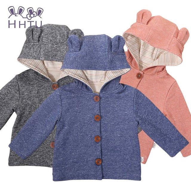 HHTU Nuevo Botón Del Niño Del Bebé Niñas niños Otoño Invierno Chaquetón Con Capucha prendas de Vestir Exteriores de la Chaqueta Del casquillo Del Oído
