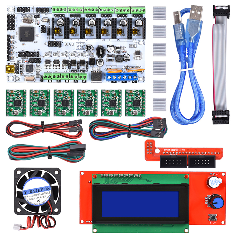BIQU Rumba control board DIY+cooler fan +LCD 2004 controller display +jumper wire +DRV8825 Stepper driver for reprap 3D printer diy biqu rumba 3d printer rumba control board lcd 12864 controller display jumper wire a4988 driver for reprap 3d printer kit103