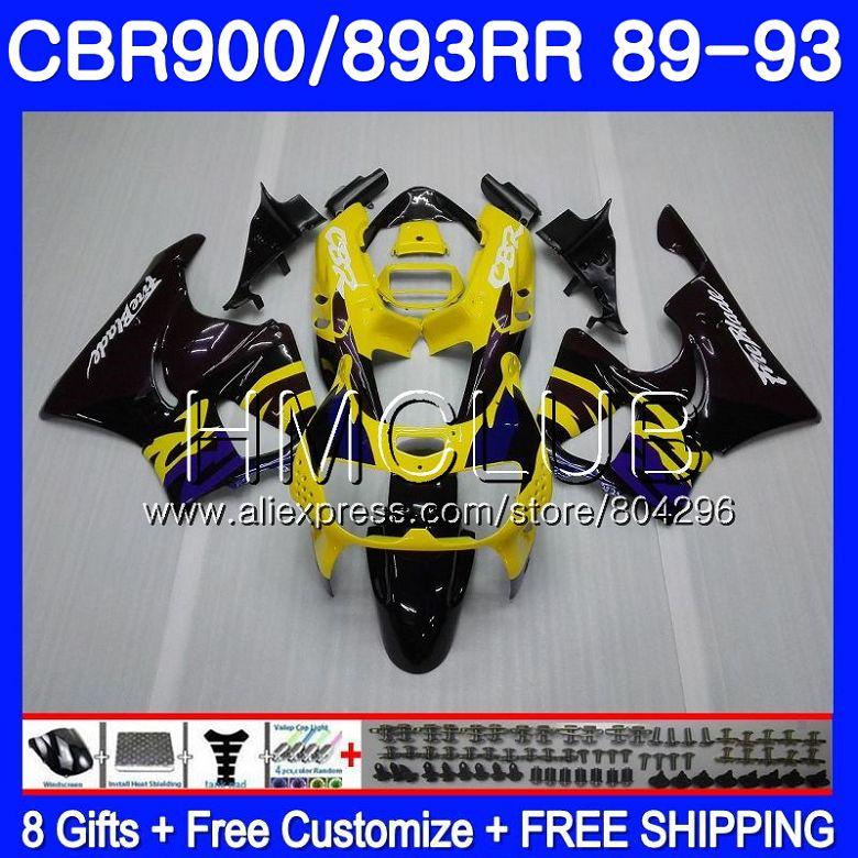 Corps Pour HONDA CBR900RR CBR893 RR CBR893RR 89 90 91 92 93 86HM. 0 CBR900 CBR 893RR 1989 1990 1991 1992 1993 Carénage Jaune noir