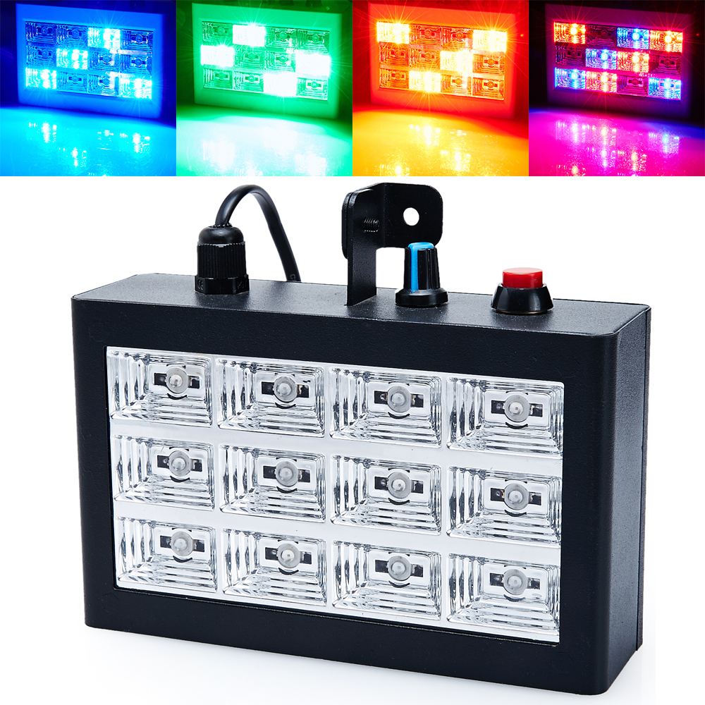 Auto and vioce Control 12RGB LED Stroboscope Disco Party DJ Strobe Grille Light Home Entertainment Music