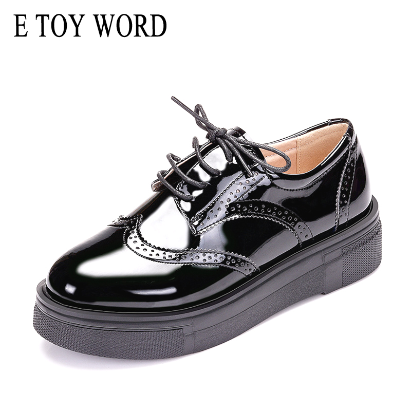 E TOY WORD Brand Spring Women Platform Shoes Woman Brogue Patent Leather Flats Lace Up Footwear Flat Oxford Shoes For Women beffery 2018 british style patent leather flat shoes fashion thick bottom platform shoes for women lace up casual shoes a18a309