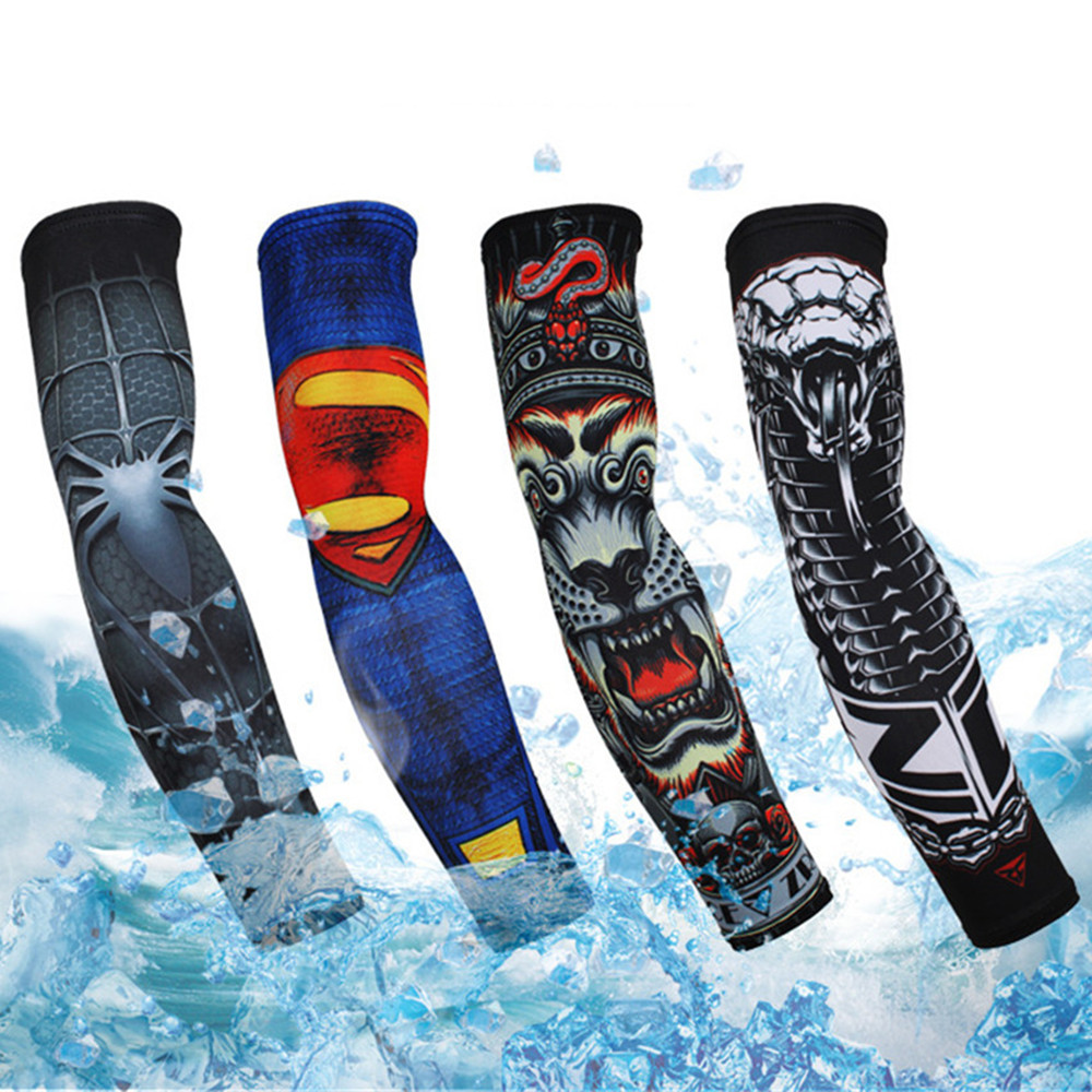 1 Pair Summer Sunscreen Arm Sleeve Polyester Breathable Quick-dry Cuff with Pattern Printing for Bicycling Driving Running