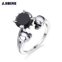 JShine 925 Sterling Silver Double Skulls Rings Unisex Wedding&Engagement Punk Zircon Women Fashion Jewelry