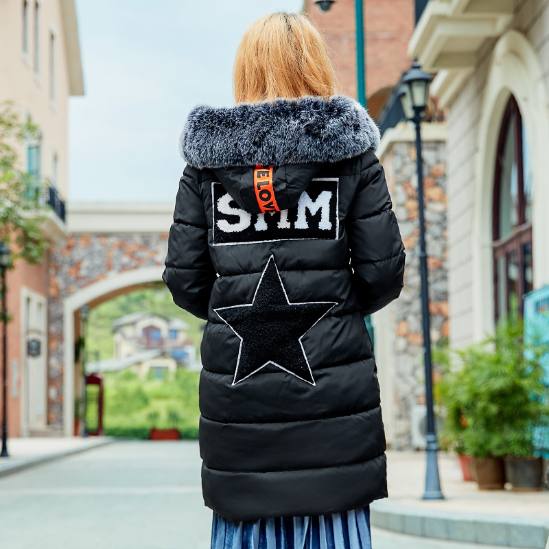 Stars Black Green Warm Winter Jackets 2017 Women Fashion Parkas Casual Hooded Long Coat Thickening Parka Zipper Cotton Slim warm winter jackets women fashion cotton parkas casual hooded long coat thickening parka zipper cotton slim outwear plus size