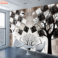 ShineHome Large 3d Mural Black White Tree Brick Wallpaper Wall Murals Rolls Paper Non Woven Wallpapers