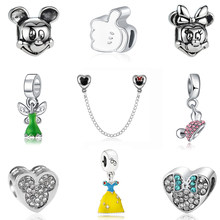 a9c553fe3 Silver Plated Crown Mickey minnie Cute Mouse Beads Clip Beads Charm Fit  Original Pandora Bracelets Fashion