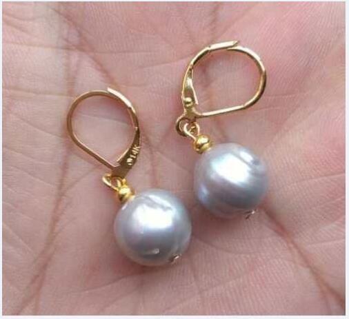 Us 10 19 49 Off Huge11 12mm Aaa South Sea Gray Baroque Pearl Dangle Earring 14k 20 Gold In Earrings From Jewelry Accessories On Aliexpress