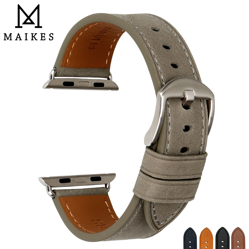 MAIKES Grey Genuine Leather Watchband For Apple Watch Bands 44mm 42mm Series 4/3/2/1 Apple Watch Strap IWatch Band 38mm 40mm
