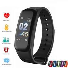 2019 inteligentne bransoletka kolorowy ekran zegarek do Fitness ciśnienie krwi tętno Monitor snu nadgarstek Bluetooth smart Watch