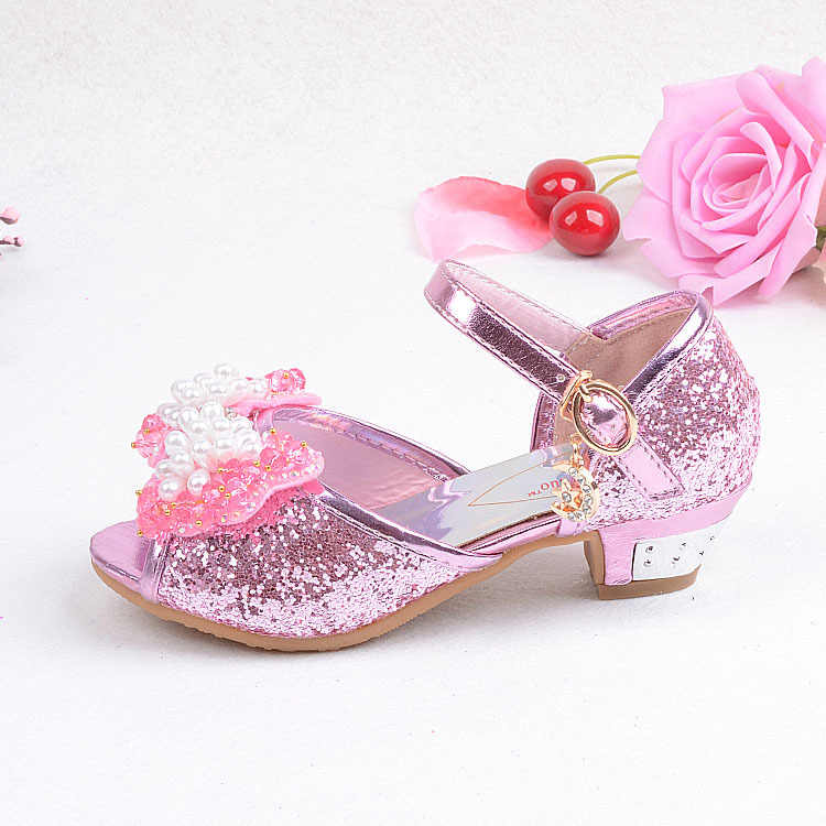 Scarpe per bambini principessa rosa/fascia blu suole morbide paillettes cuoio dell'arco di modo diamanti perla ragazze di fiore dei vestiti scarpe