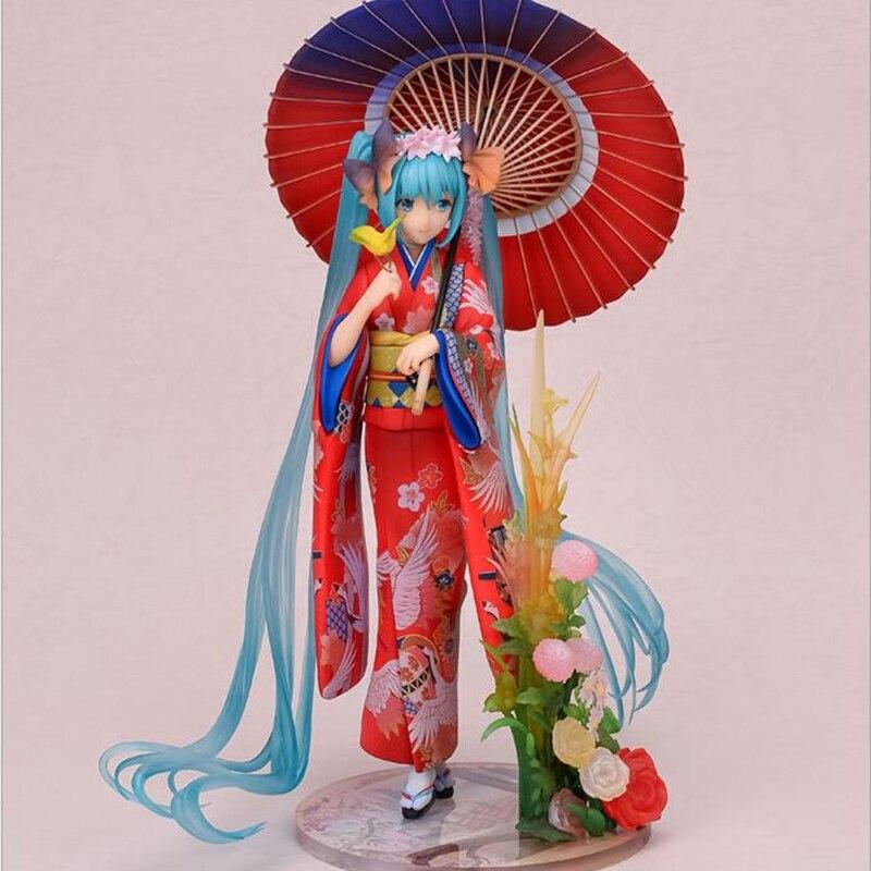Figurine Anime 23 CM kimono Hatsune Miku cosplay échelle nendoroïde peint Kimono PVC figurine d'action modèle jouets de collection