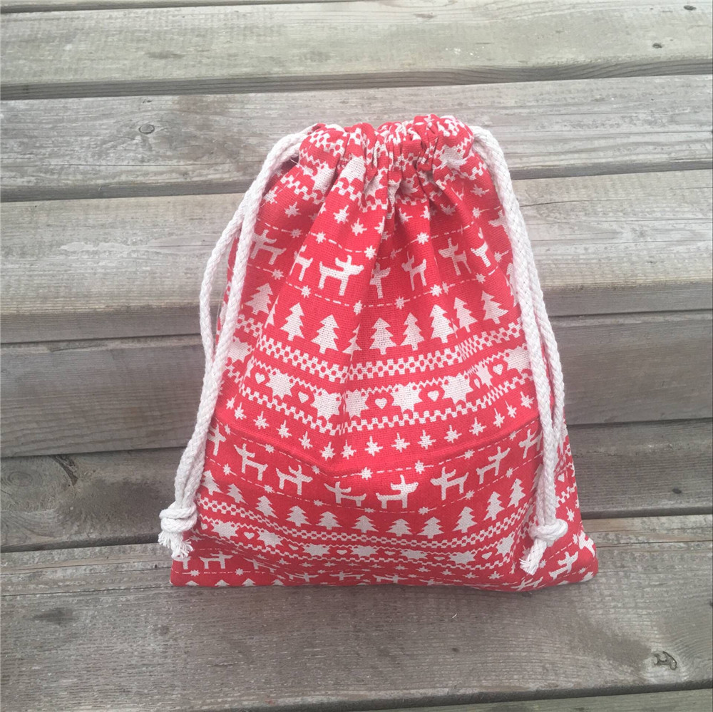 YILE 1pc Cotton Linen Drawstring Pouch Party Gift Bag Christmas Tree Deer Red Base 8927b