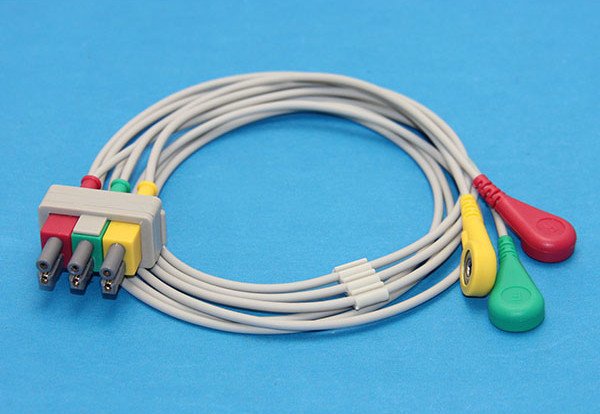 M1605A Compatible ECG Leads Cable 3 Lead Snap IEC use for ... on