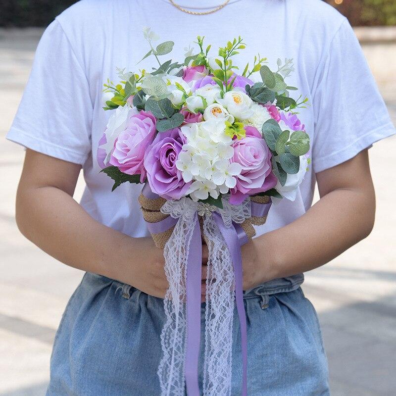 Bouquet de mariage Bouquet de mariée ruban mariée tenant fleur Rose demoiselle d'honneur mariage fleurs en mousse Rose 617 - 3