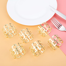 6Pcs Napkin Ring Metal Table Decoration Serviette Rings Holder West Dinner Towel Party