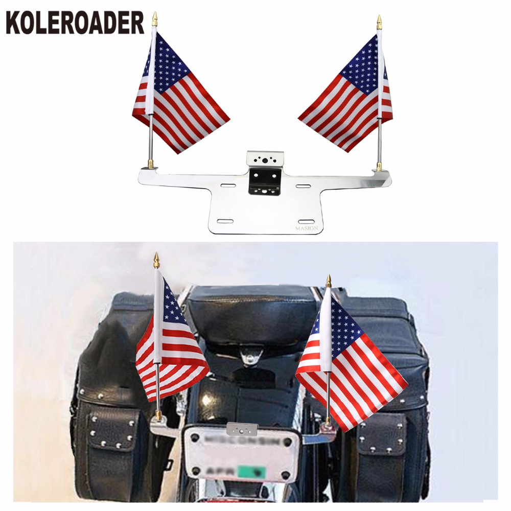 Universal Motorcycle License Plate Frame Mounted Double 6 * 9 USA Flag Holder