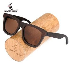 Image 2 - Bobo bird okulary 편광 된 에보니 우드 선글라스 브라운 그레이 렌즈 uv400 아이웨어 수제 맞춤형