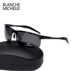 Image 5 - Wysokiej jakości ultralekki aluminium magnezu okulary sportowe spolaryzowane mężczyźni UV400 prostokąt złoty odkryty jazdy okulary