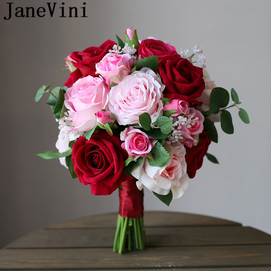 JaneVini Ramo Novia Rosa Red Pink Roses Bridal Bouquet Artificial Brides Bouquet Wedding Flowers for Bridesmaid Brooch Accessory