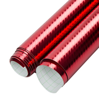 SUNICE Red Carbon Fiber Film Auto car Exterior Styling Self Adhesive Sticker Decals Sheet Protect Car Paint Bubble Free 1.52x1m