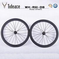 Many Brand LOGO 700C Full Carbon Fiber 50mm Clincher Carbon Wheel Set Road Bike Bicycle Wheels