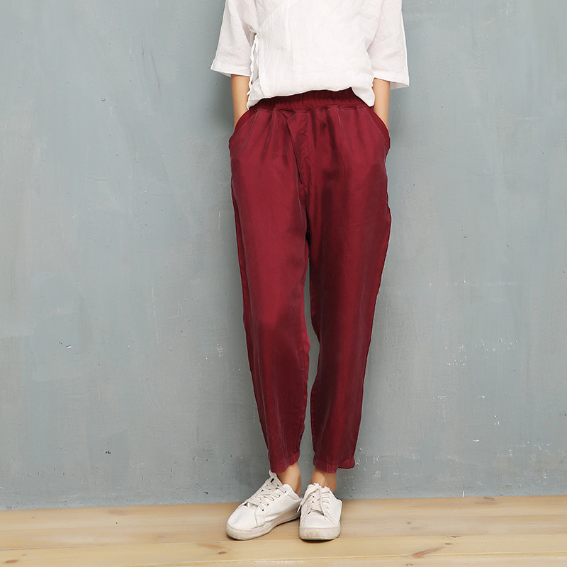 NINI WONDERLNAD 2020 Summer Harem Pants Women Thin Cupro And Silk Casual Trousers Female Solid Elastic Waist Pants Lady Trousers
