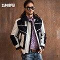 Hombres abrigo de piel natural real de Gran tamaño modelos de chaqueta de Moto de piel de lana de cordero abrigo de piel de Cuero de vaca Masculina Chaquetas de Invierno