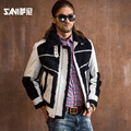 Men's natural real fur coat Large size cowhide Leather jacket  lambswool fur Motorcycle models fur overcoat Male Jackets Winter