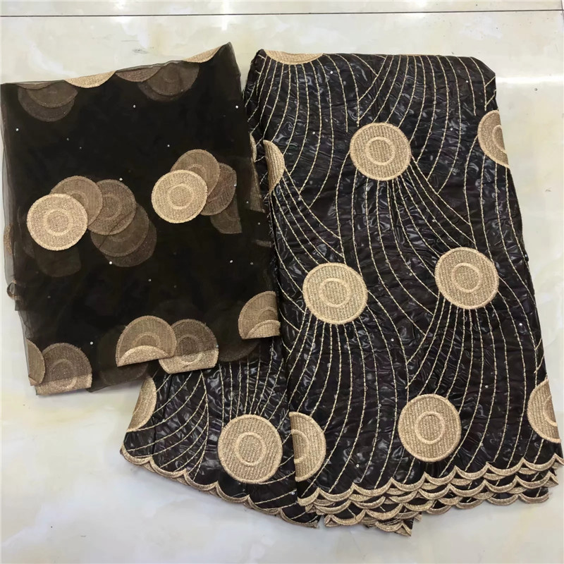 2019 New arrival Stone african Bazin riche fabric with embroidery lace / bazin riche dress material Nigerian KY042723