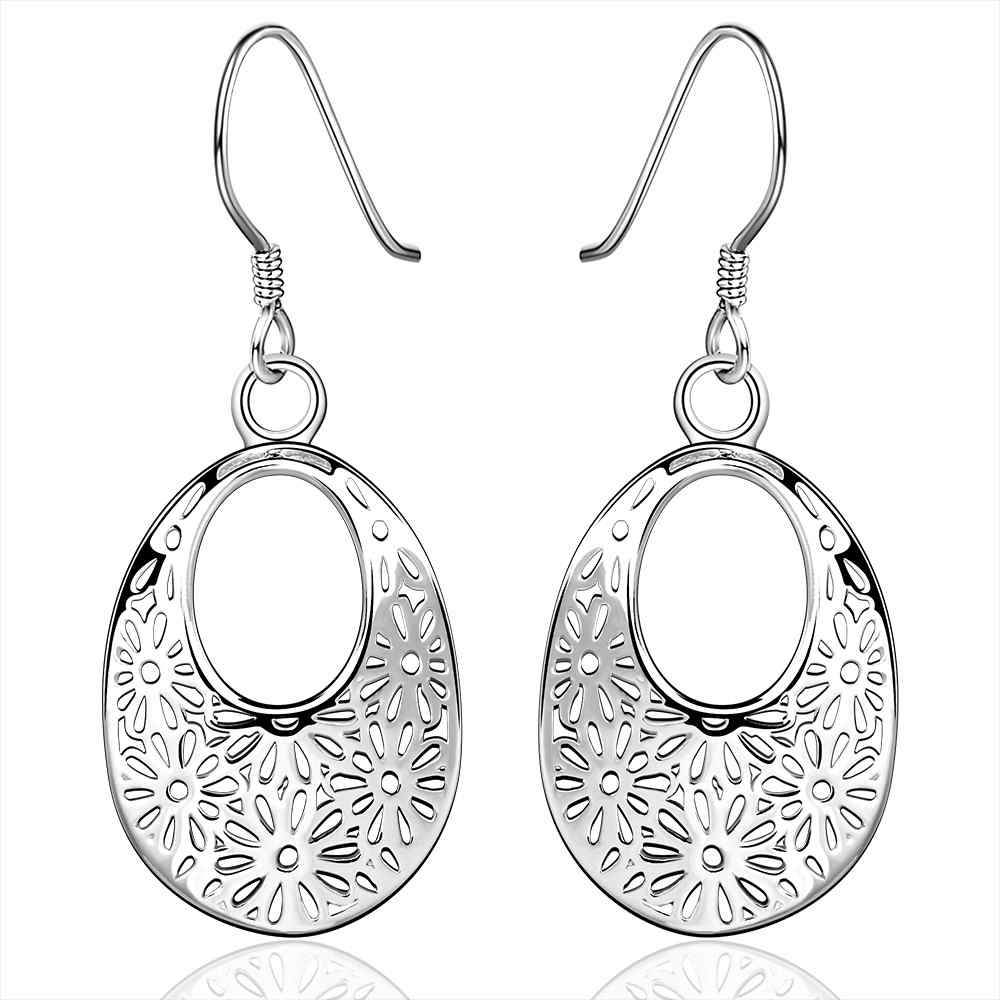Simple Fashion Style Silver plated drip hole web Earrings