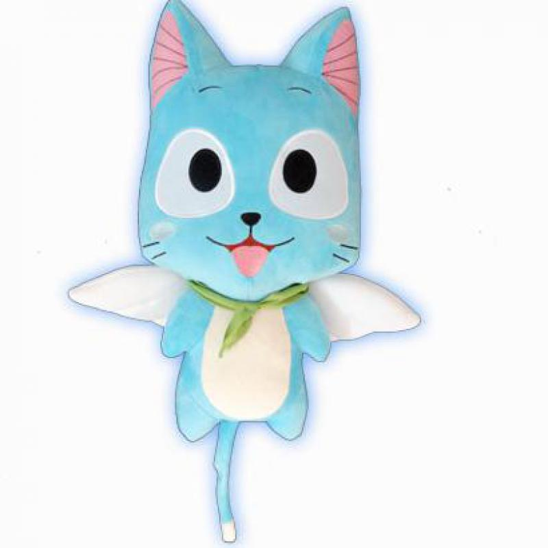 Anime Fairy Tail Happy Plush Toy Kawaii Happy Blue Cat Soft Stuffed Animals Doll Figure Cosplay Dolls For Baby Kids Girls Gifts