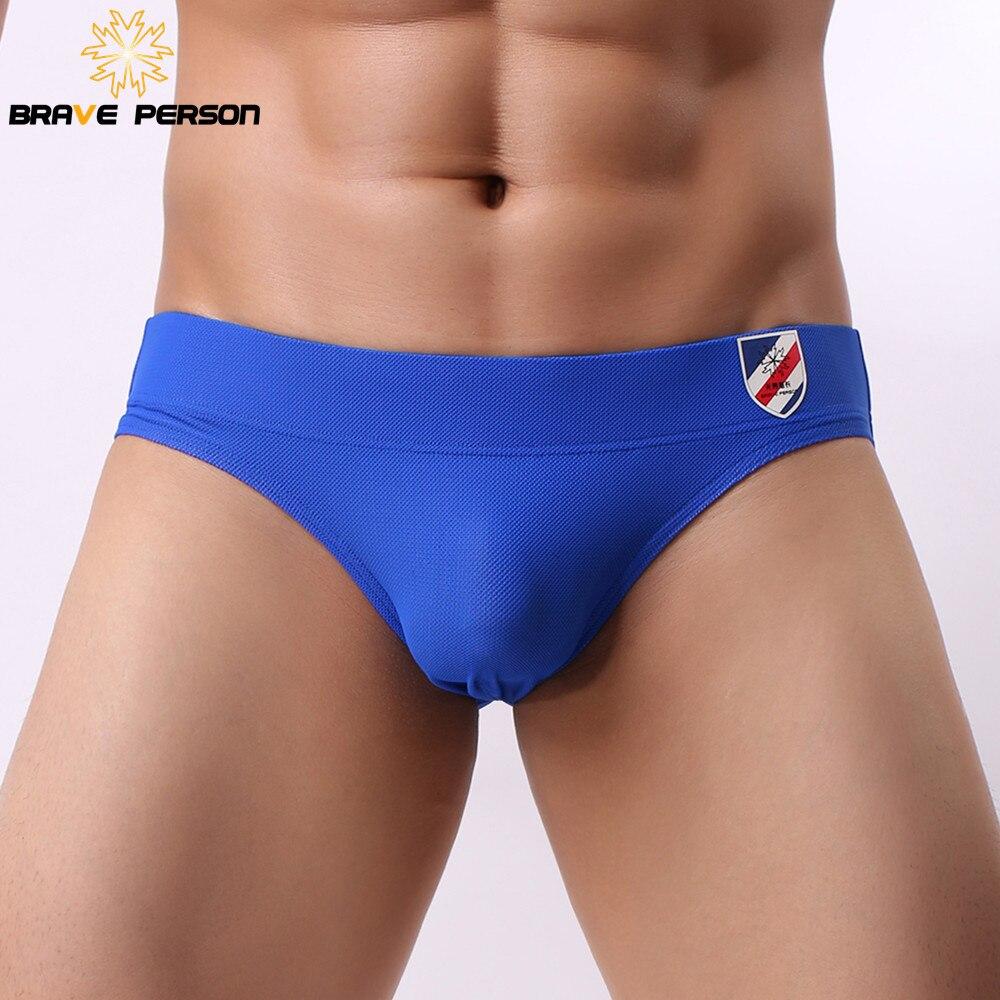 BRAVE PERSON 2019 New Sexy Underwear Men Briefs Mesh Breathable Mens Underwear Underpants Brief Male Panties 6 Colors