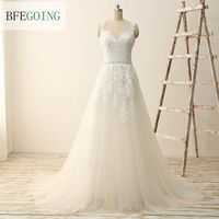 White Tulle Lace A line Wedding dress Sweep Train V Neck Spaghetti Straps Sleeveless Bridal Gowns Real /Original Photos