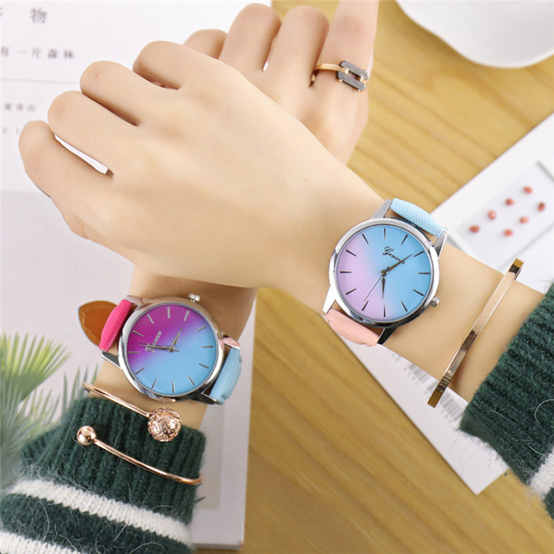 Women Watch Quartz Wrist Watch Retro Rainbow Design Casual Leather Band Ladies Bracelet Watches zegarek damski kol saati 5N montre femme retro design pu leather band green dial analog alloy quartz wrist watch bayan kol saati lady ladies wristwatches