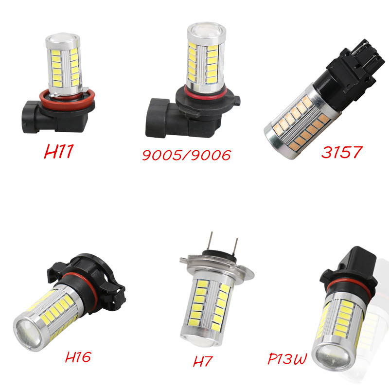 1PC Car Led H7 H8 H11 9005 HB3 9006 HB4 H16 PSX24W P13W 33SMD LED Auto Fog Lamp Car Bulb 6000K Driving Lamp 12V White