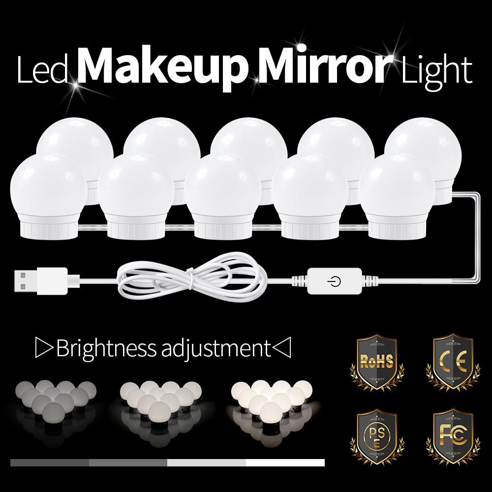 LED Makeup Vanity Mirror Light 12V Hollywood Make Up Table Dressing Room Bulb Cosmetic 2 6 10 Bulbs Bathroom Bedroom Wall LampLED Makeup Vanity Mirror Light 12V Hollywood Make Up Table Dressing Room Bulb Cosmetic 2 6 10 Bulbs Bathroom Bedroom Wall Lamp