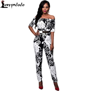Summer Long Sleeve Off Shoulder Sexy Skinny Bodycon Jumpsuits Black White Slash Neck Rompers Womens Jumpsuit Bandage One Piece
