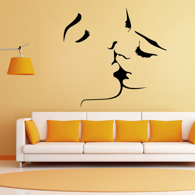 Creative Black Lovers Kiss home decal wall sticker removable wedding ...