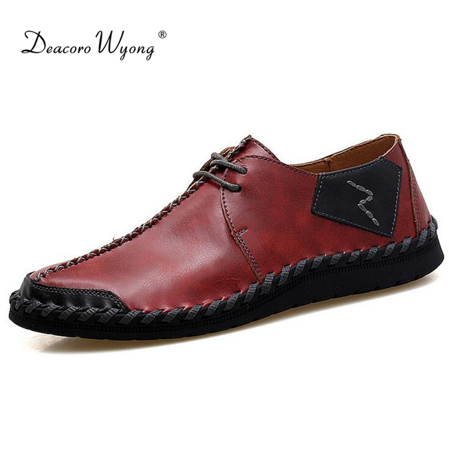 New men's casual shoes fashion comfortable soft leather hand-stitched driving shoes breathable large size men shoes EUR 38-47