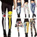2017 nova muitos famosos mulheres dos desenhos animados adventure time impresso aptidão leggings sping summer harajuku leggins calças criativas