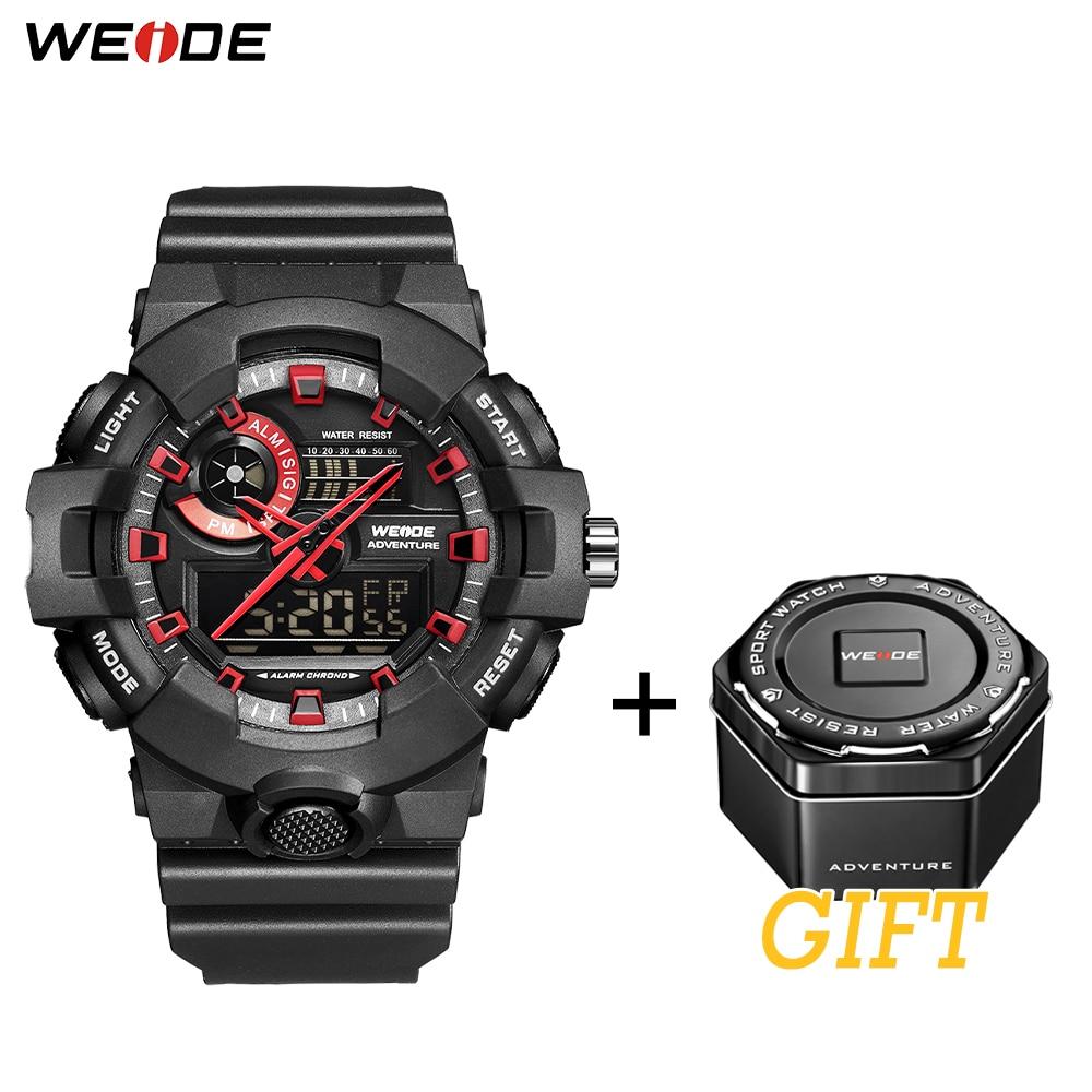 WEIDE Sports Luxury Hour Clock Water Resistant Alarm Repeater Calendar Quartz Analog Digital Men Wristwatches Relogio