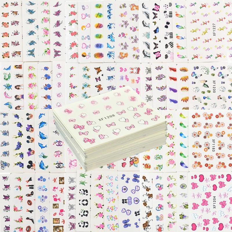 60 blätter Gemischte Stile Wasserzeichen Feder Cartoon Aufkleber Nail art Wasser Transfer Tipps Decals Schönheit Temporäre Tattoos Werkzeuge