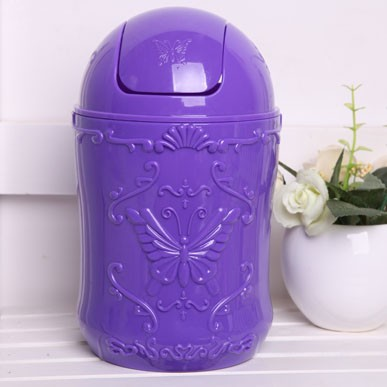 Colorful rotating transparent cover desktop trash Waste Bins The butterfly  pattern round desktop trash can 22cm 12.5cm a2a198bc86c1