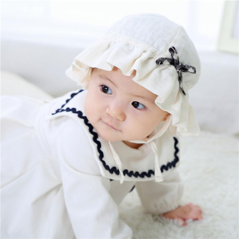 3628f9324 US $2.63 10% OFF|Cute Double Layer Baby Cap Spring Summer Soft Cotton  Infant Outdoor Sun Hat Bowknot Decoration Boys Girls Cap Fishman Sunhat-in  Hats ...